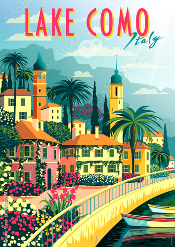Stampa su Tela A small town on the shores of lake Como on a sunny summer day