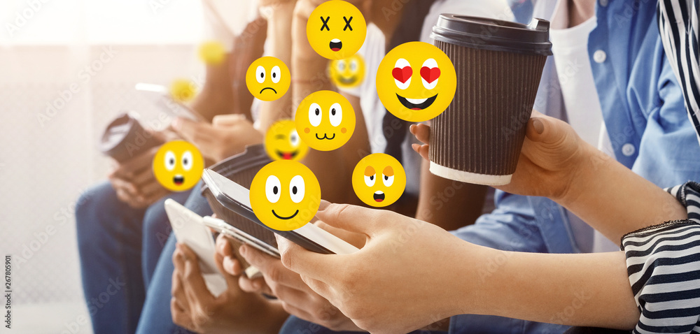Fototapety, obrazy: Social concept. Friends sending emojis chatting on phones