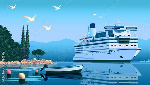 Obraz na plátně A cruise liner off the coast of the Mediterranean sea.