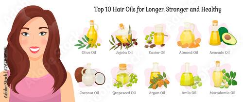 Fotografie, Obraz  Top ten oils vector advertisement for longer, stronger and healthy hair