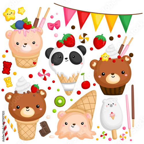 Wall Murals Bears a vector of many ice cream with cute bear on top