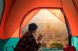 Leinwanddruck Bild traveler camping and relax watching stupa at Bagan Mandalay Myanmar.