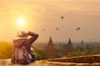 Leinwanddruck Bild - Young traveler in Bagan Mandalay Myanmar