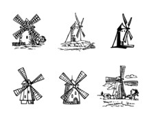 Windmill Dutch Type, Set Of Black And White Hand Drawn Icons