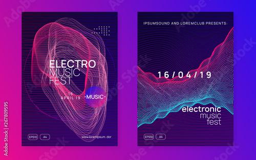 Fototapeta Edm flyer. Dynamic fluid shape and line. Trendy discotheque invitation set. Neon edm flyer. Electro trance music. Techno dj party. Electronic sound event. Club dance poster. obraz