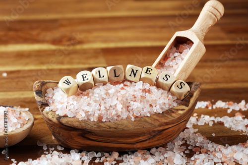 Fototapety, obrazy: Natuaral cosmetics with pink himalayan spa salt. Sea bath salt for healthy spa relaxation