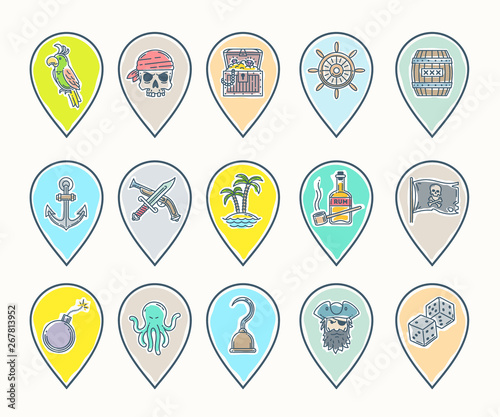 Pirate icon set - line drawn map pins with different objects, items, signs and symbols Canvas Print