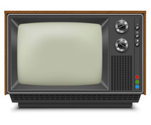 Retro TV-set Front View With Blank Screen