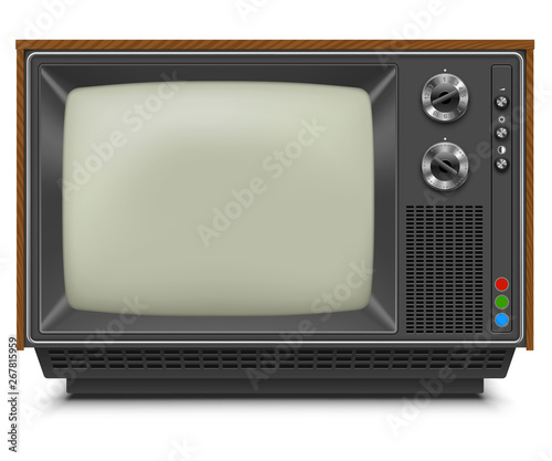 Cuadros en Lienzo Retro TV-set Front View with Blank Screen