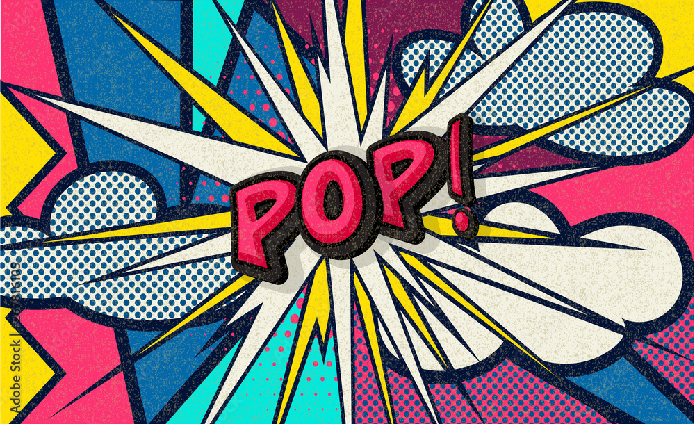 Fototapeta Pop! Pop art funny comic speech word. Fashionable poster and banner. Social Media Connecting Blog Communication Content. Trendy and fashion color retro vintage illustration background. Easy editable.