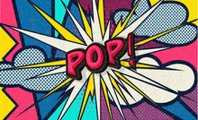Pop! Pop Art Funny Comic Speech Word. Fashionable Poster And Banner. Social Media Connecting Blog Communication Content. Trendy And Fashion Color Retro Vintage Illustration Background. Easy Editable.