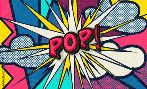 Pop! Pop art funny comic speech word Wallpaper Mural