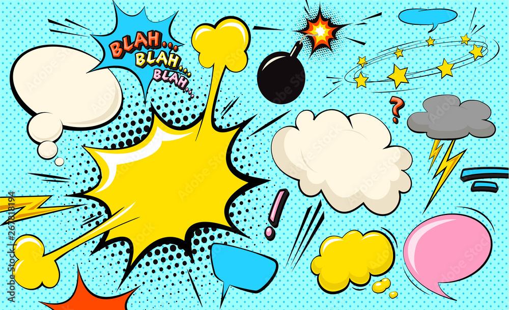 Bańka chmurki pop-artu. Bla, bla, bla zabawna bańka mowy. Modny kolorowy retro starodawny tło komiks w stylu retro komiks pop-artu. Ilustracja łatwa do edycji dla twojego projektu. <span>plik: #267818194   autor: brainpencil</span>