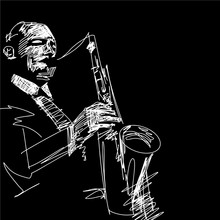 Silhouette Of Saxophone Player. Hand Drawn Jazz Illustration. Black And White Musical Sketch. Monochrome Drawing. Vector Isolated Contour. Grattage Style.