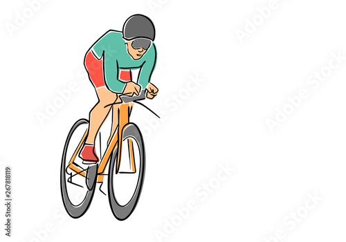 Fotografie, Obraz  Single male bicyclist on bicycle