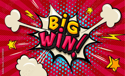 Obraz Big Win! Pop art cloud bubble. Funny speech shopping sale icon bubble. Trendy Colorful retro vintage comic background in pop art retro comic style. Illustration easy editable for Your design.  - fototapety do salonu