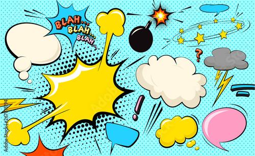 Bańka chmurki pop-artu. Bla, bla, bla zabawna bańka mowy. Modny kolorowy retro starodawny tło komiks w stylu retro komiks pop-artu. Ilustracja łatwa do edycji dla twojego projektu.