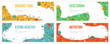 Banners Collection With Icons Of Organic Food. Hand Drawn Modern Nutrition Concept. Food Banner Template