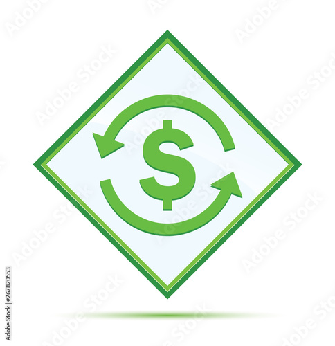 Money exchange dollar sign icon modern abstract green