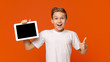 Leinwandbild Motiv Teenage boy showing blank digital tablet screen