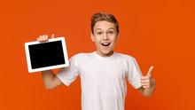 Teenage Boy Showing Blank Digi...