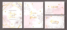 Wedding Invitation Cards With Watercolor Texture,hand-drawn Flowers And Plants,geometric Shapes And Golden Sequins.Vector Illustration.