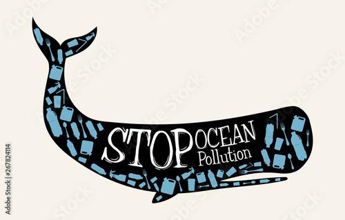 Fotografía  Stop Ocean Pollution Message in vector format