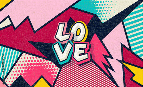 Recess Fitting Pop Art Love! Pop art funny comic word. Fashionable poster and banner. Social Media Connecting Blog Communication Content. Trendy and fashion color retro vintage illustration background. Vector easy editable