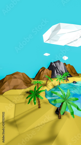 Poster Turquoise low poly desert landscape with palm trees. 3d render illustration