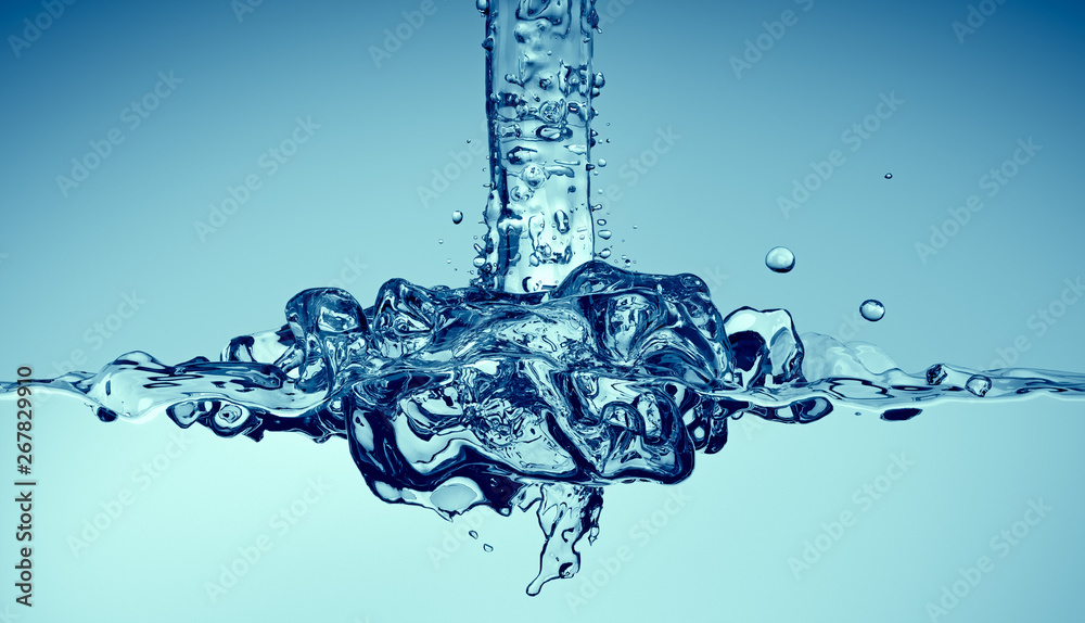 Fototapeta Clean water pouring with splashes, 3d render