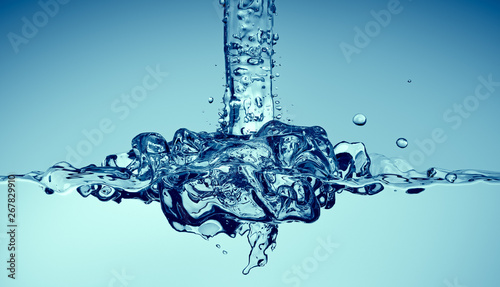 Clean water pouring with splashes, 3d render Fototapete