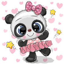 Cartoon Panda Ballerina On A Hearts Background