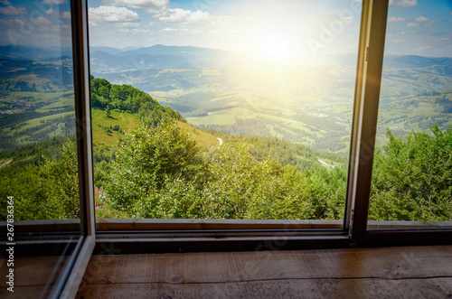 View from the window on the mountain landscape