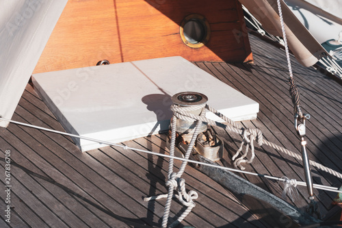 Photo  Winches and ropes, yacht details