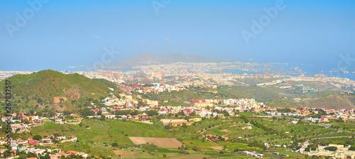 Fototapeta Aerial view of northern Gran Canaria with capital Las Palmas obraz na płótnie