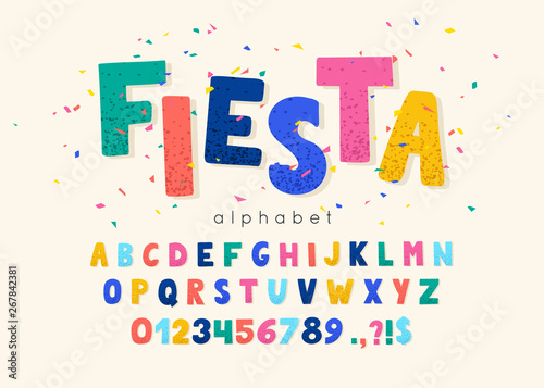 Vector font and alphabet. Abc, english letters and numbers. Fiesta