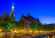 Leinwandbild Motiv Night view of town hall in Leiden, Netherlands