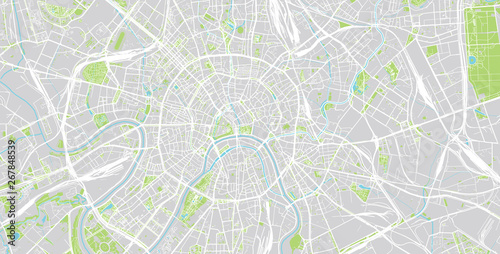 Fotografie, Tablou Urban vector city map of Moscow, Russia