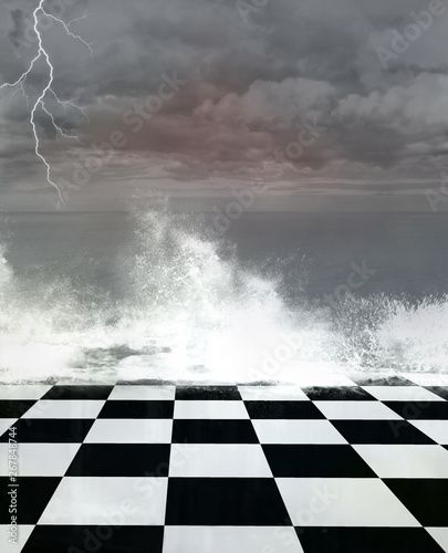 Fotografía Surreal stormy seascape with a chessboard