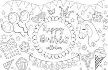 Happy Birthday Cute Coloring B...