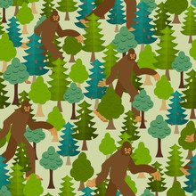 Bigfoot In Forest Pattern Seamless. Yeti And Trees Background. Abominable Snowman Ornament. Sasquatch Texture