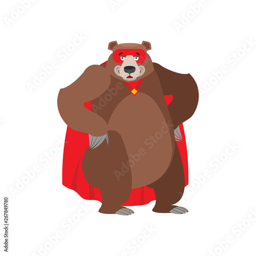 Bear superhero. Super Grizzly in mask and raincoat. Strong beast Canvas Print