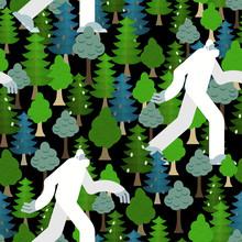 Bigfoot In Forest Pattern Seam...