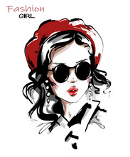 Hand Drawn Beautiful Young Woman In Red Beret. Stylish Girl In Sunglasses. Fashion Woman Look. Sketch. Vector Illustration.