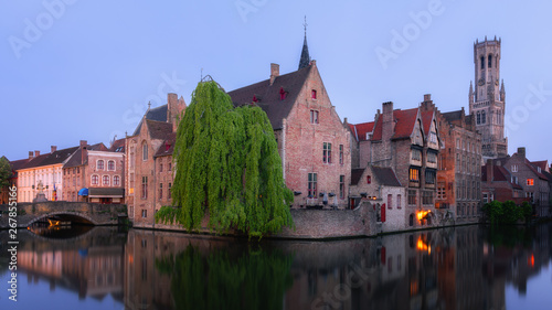 Wall Murals Bridges Medieval City Centre, UNESCO World Heritage Site, framed by Rozenhoedkaai canal at night, Bruges, West Flanders, Belgium, Europe