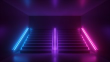3d Render, Abstract Neon Background, Pink Blue Glowing Light, Staircase In Dark Room