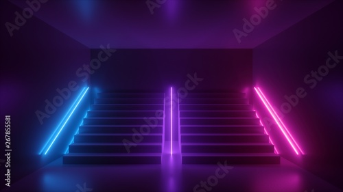 3d Render Abstract Neon Background Pink Blue Glowing Light