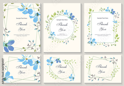 Fototapeta Flower Vector Card Template Thank You Blank Wedding Invitation Greeting Card Banner Flowers Leafs Decorative Frame Set