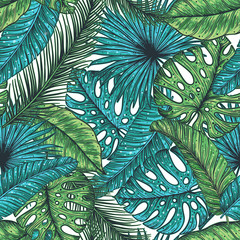 Fototapeta Do sypialni Tropical palm leaves seamless pattern. Vector illustration leaves of palm. Jungle pattern. Print on cloth template. Beautiful design for textiles.