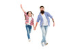 Leinwandbild Motiv Like father like daughter. Bearded father and small girl child in casual hipster style holding hands. Happy father and adorable little daughter walking together. My father is my friend